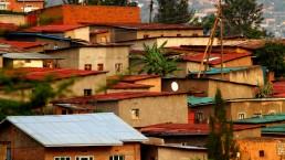 Colorful hillside homes in Kigali, Rwanda