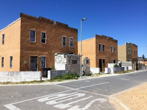 Low cost formal housing in Mitchells Plain, Cape Town.