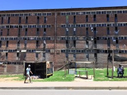 Run-down migrant workers hostel in Alexandra, Johannesburg