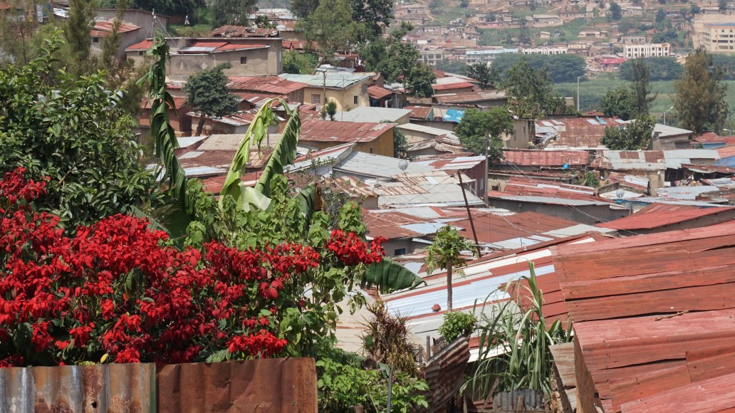 Poor quality housing, informal settlement, Kigali, Rwanda. Credit: Ya Ping Wang, University of Glasgow.