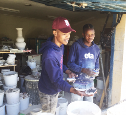 Making decorative tiles in Mfuleni, Cape Town, South Africa. Credit: Ivan Turok, Human Sciences Research Council.