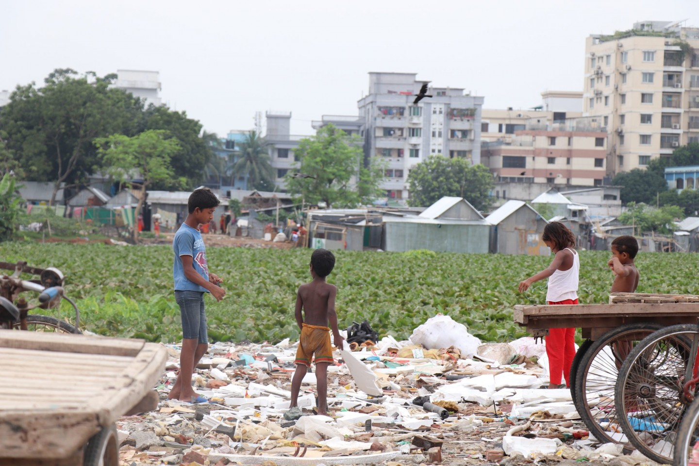 Unplanned residence and uncollected waste: the cost of urbanisation in Karail Slum, Dhaka. Credit: Khulna University.