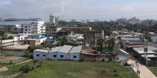 Housing and industries are rapidly taking over the water bodies and agricultural lands in Borpa, Narayanganj, Dhaka. © 2020 SHLC Bangladesh.