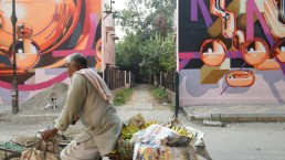 Man on bike selling fruit, Lodhi Colony, Delhi, India. Credit: Gail Wilson, University of Glasgow