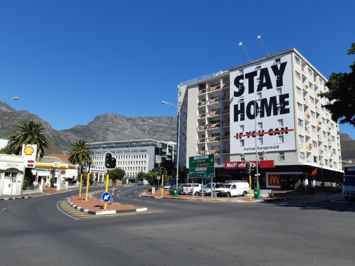 A billboard in Cape Town, South Africa calls on South Africans to