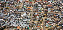Aerial view of informal settlements of the