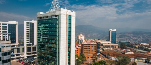 Kigali, Rwanda. A wide view looking down on the city centre with Pension Plaza in the foreground. Credit: Shutterstock, Jennifer Sophie.