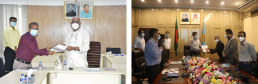 Honorable VC of Khulna University shares SHLC reports with Mayor of KCC and DSCC. Credit: Khulna University