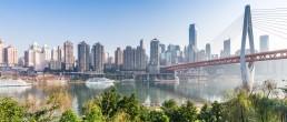 Panoramic skyline of Chongqing, Yangtze river, China.